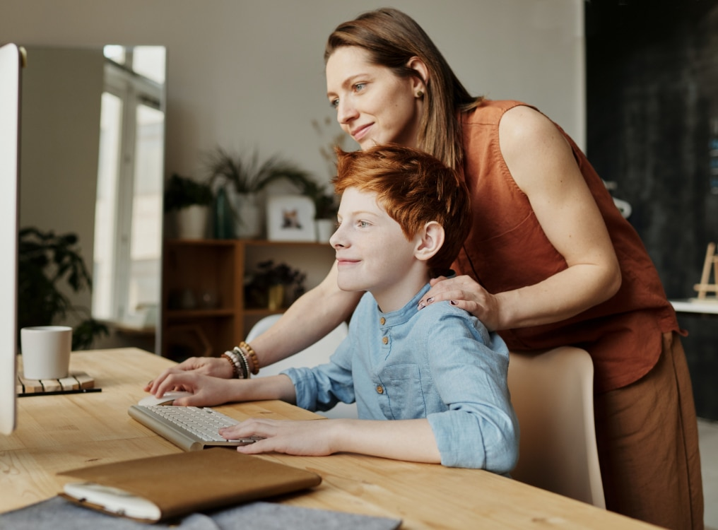 Mom & Son on computer